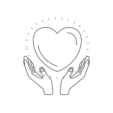 silhouette hands with floating heart charity symbol vector illustration Illustration