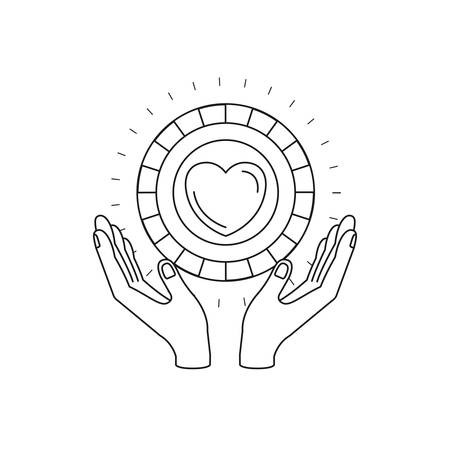 silhouette hands with floating coin with heart shape inside charity symbol vector illustration Illustration