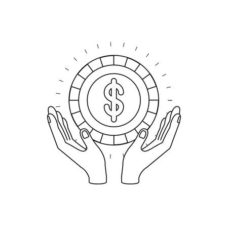 silhouette hands with floating coin with dollar symbol inside vector illustration Illustration
