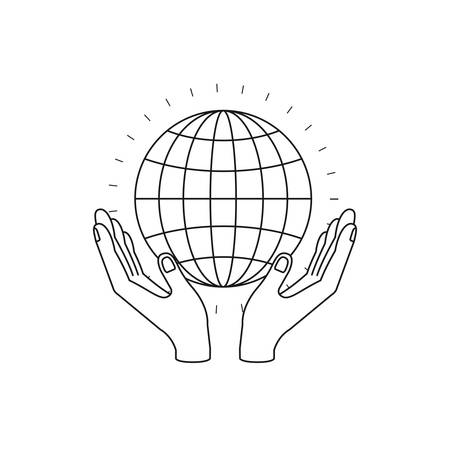 silhouette hands with floating globe chart charity global symbol vector illustration