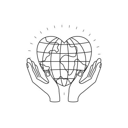 silhouette hands with floating earth globe world in heart shape vector illustration
