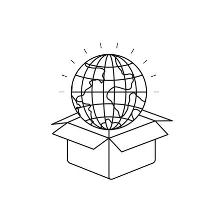 silhouette globe earth world coming out of cardboard box vector illustration Illustration