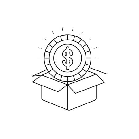 Silhouette coin with dollar symbol inside coming out of cardboard box vector illustration