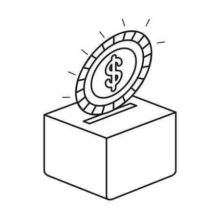 silhouette flat coin with dollar symbol depositing in a carton box vector illustration Illustration