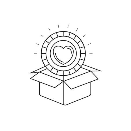 A silhouette coin with heart shape inside coming out of cardboard box vector illustration.