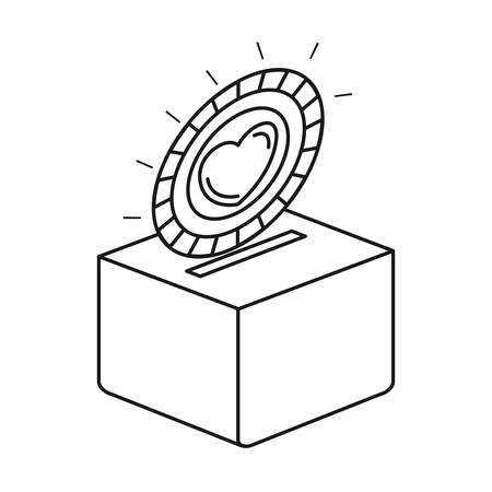 A silhouette flat coin with heart symbol inside depositing in a carton box vector illustration.