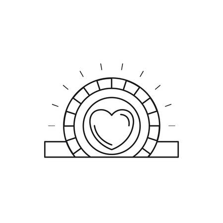slot in: silhouette closeup flat coin with heart symbol inside depositing in rectangular slot vector illustration