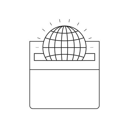 assisting: silhouette front view flat globe earth world chart depositing in a carton box vector illustration