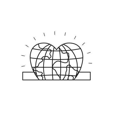slot in: silhouette closeup flat globe earth world in heart shape depositing in rectangular slot vector illustration Illustration