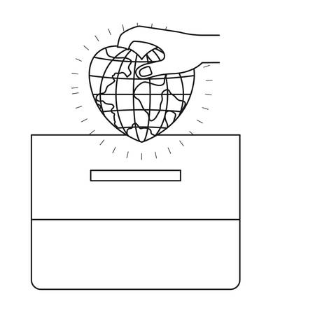 assisting: silhouette front view hand with flat globe earth world in heart shape depositing in a carton box vector illustration
