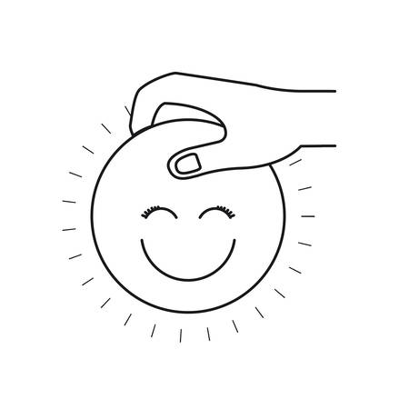 silhouette side view of hand holding a happy face symbol to deposit vector illustration