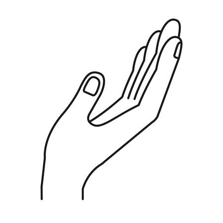 silhouette opened hand of symbol of receiving vector illustration