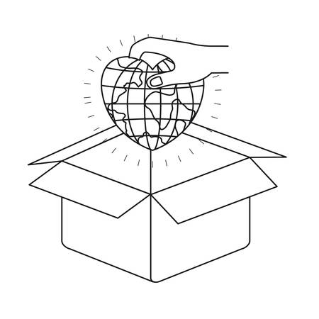 silhouette hand holding a globe earth world in heart shape to deposit in cardboard box vector illustration
