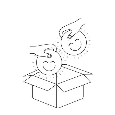 philanthropist: Silhouette side view of pair hands holding a happy faces symbol to deposit in cardboard box vector illustration
