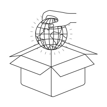 philanthropist: Silhouette hand holding a globe earth world to deposit in cardboard box vector illustration Illustration