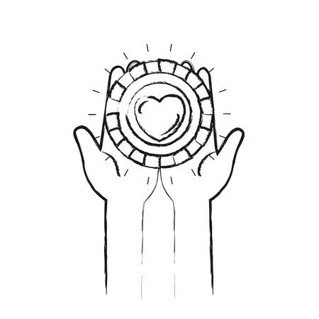 blurred silhouette front view of hands holding in palms a coin with heart shape inside charity symbol vector illustration