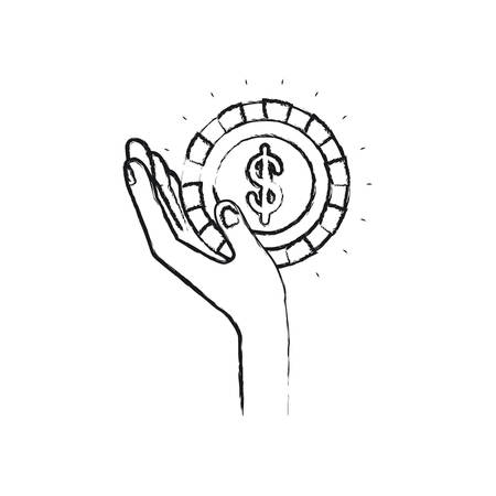 philanthropist: blurred silhouette left hand holding in palm a coin with dollar symbol inside vector illustration