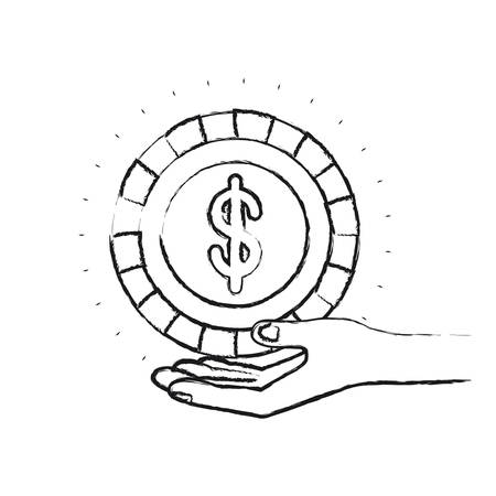 blurred silhouette hand palm giving a coin with dollar symbol vector illustration