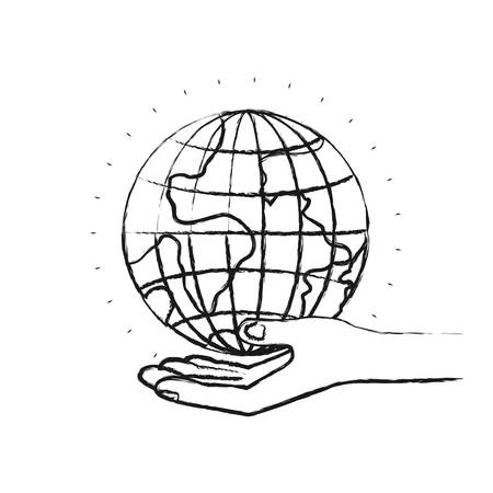 A blurred silhouette hand palm giving a earth globe world charity symbol vector illustration. Illustration