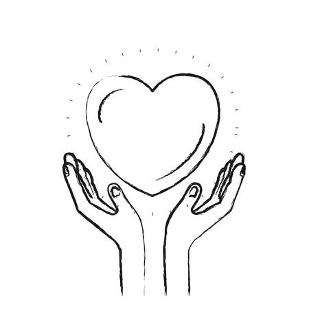 blurred silhouette hands with floating heart charity symbol vector illustration