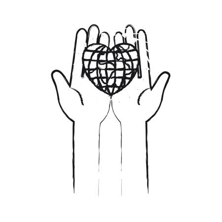 blurred silhouette front view of hands holding in palms a earth globe world in heart shape vector illustration