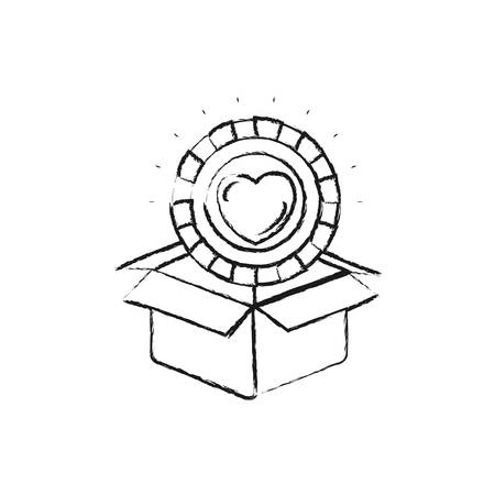 philanthropist: Blurred silhouette coin with heart shape inside coming out of cardboard box vector illustration