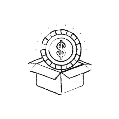 blurred silhouette coin with dollar symbol inside coming out of cardboard box vector illustration