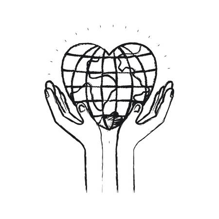 philanthropist: blurred silhouette hands with floating earth globe world in heart shape vector illustration Illustration