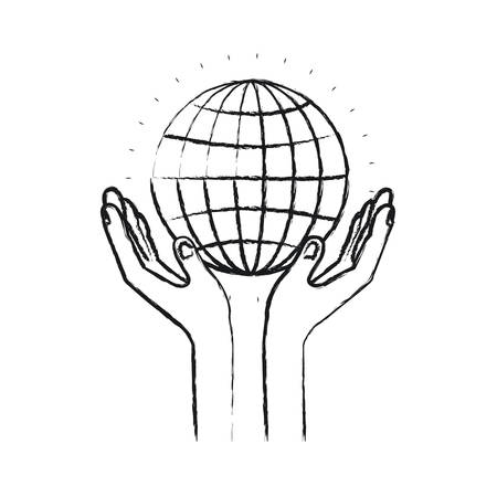 blurred silhouette hands with floating globe chart charity global symbol vector illustration