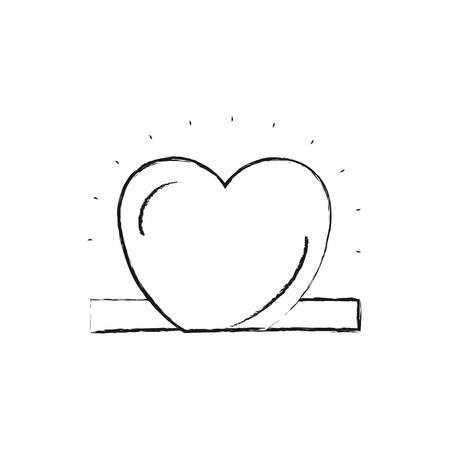 give: blurred silhouette closeup flat heart depositing in rectangular slot vector illustration Illustration