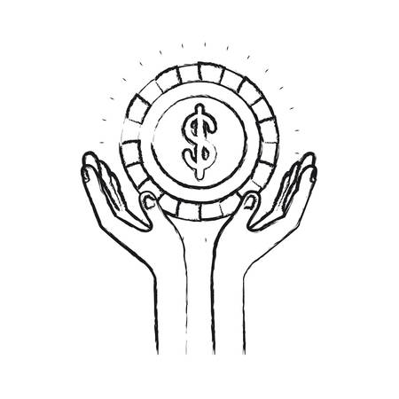 blurred silhouette hands with floating coin with dollar symbol inside vector illustration Illustration