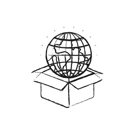 Blurred silhouette globe earth world coming out of cardboard box vector illustration