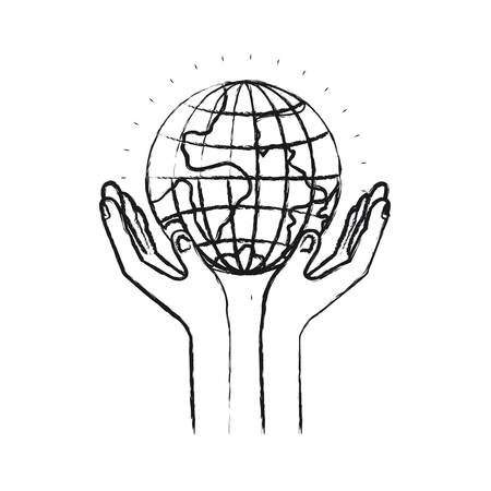 blurred silhouette hands with floating earth globe world charity symbol vector illustration Illustration
