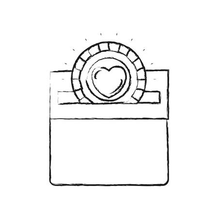 slot in: Blurred silhouette flat coin with heart symbol inside depositing in rectangular slot of carton box vector illustration