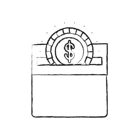 slot in: blurred silhouette flat coin with dollar symbol depositing in rectangular slot of carton box vector illustration Illustration