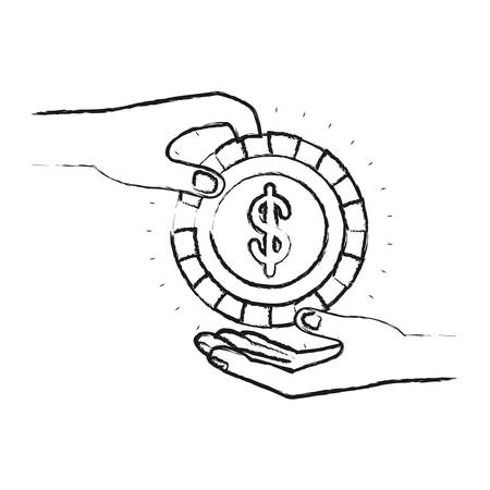philanthropist: blurred silhouette side view of palm human holding a coin with dollar symbol inside to deposit in other hand vector illustration Illustration