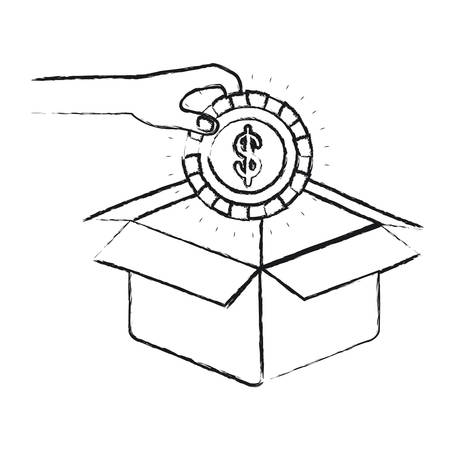 philanthropist: blurred silhouette hand holding a coin with dollar symbol inside to deposit in cardboard box vector illustration Illustration