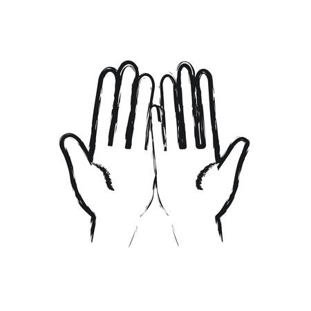 blurred silhouette front view palm of hands in symbol receiving vector illustration Illustration
