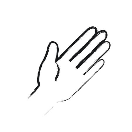 blurred silhouette front view palm of hand in greeting symbol vector illustration