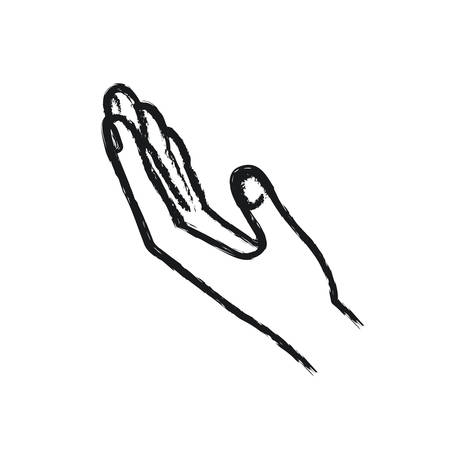 blurred silhouette extended hand of symbol of receiving vector illustration