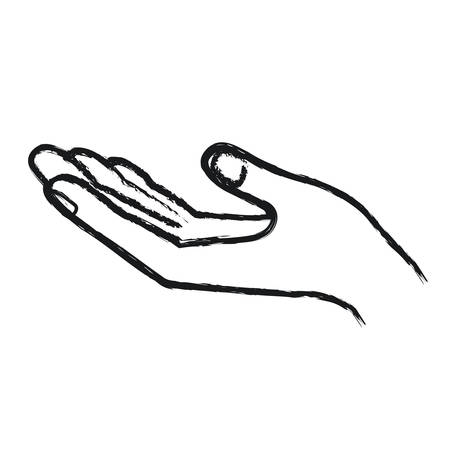 blurred silhouette opened hand of symbol of receiving vector illustration