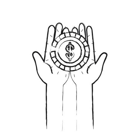 philanthropist: blurred silhouette front view of hands holding in palms a coin with dollar symbol vector illustration