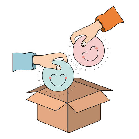 color silhouette side view of pair hands holding a happy faces symbol to deposit in cardboard box vector illustration