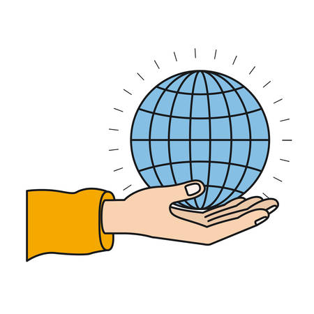 give: colorful silhouette hand palm giving a globe chart charity symbol vector illustration