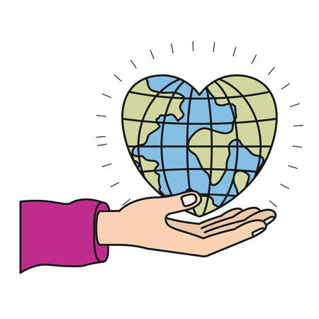 colorful silhouette hand palm giving a earth globe world in heart shape vector illustration