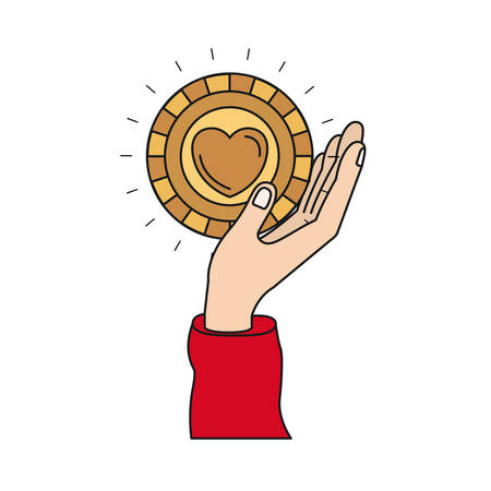colorful silhouette side view of hand holding in palm a coin with heart shape inside charity symbol vector illustration