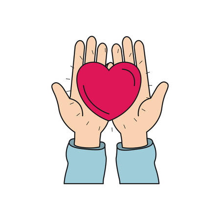 give: colorful silhouette front view of hands holding in palms a heart charity symbol vector illustration Illustration