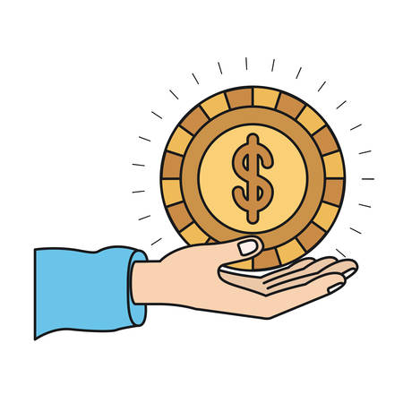 colorful silhouette hand palm giving a coin with dollar symbol vector illustration Illustration