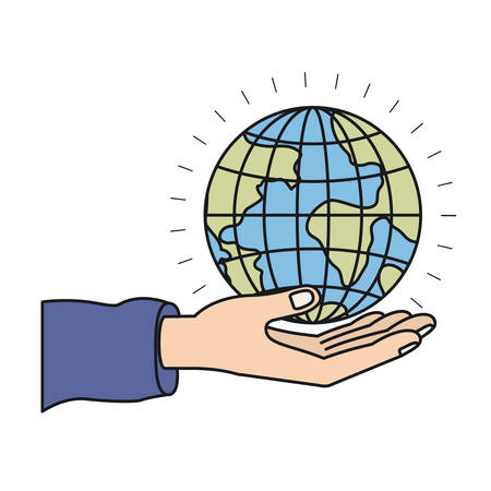 give: colorful silhouette hand palm giving a earth globe world charity symbol vector illustration Illustration