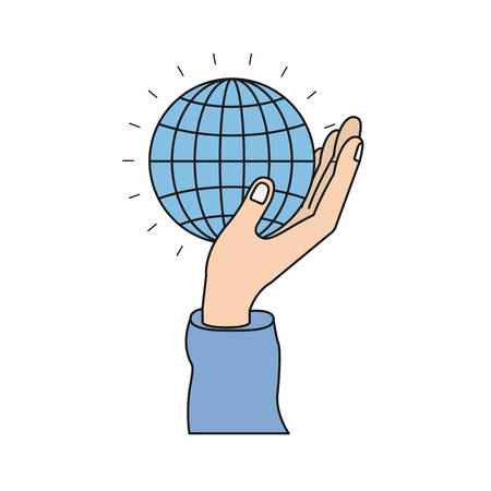 colorful silhouette side view of hand holding in palm a globe chart vector illustration Illustration